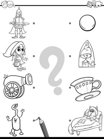 Black and White Cartoon Illustration of Education Pictures Matching Game for Children with Fantasy Objects and Characters Coloring Book
