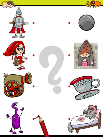 Cartoon Illustration of Education Pictures Matching Game for Children with Fantasy Objects and Characters Ilustrace