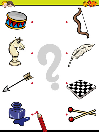Cartoon Illustration of Education Element Matching Game for Children with Objects