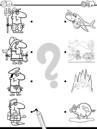 correspond: Black and White Cartoon Illustration of Education Picture Matching Game for Children with Animal Characters Coloring Page