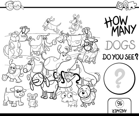 spotted dog: Black and White Cartoon Illustration of Educational Counting Game for Children with Spotted Dog Characters Coloring Page Illustration