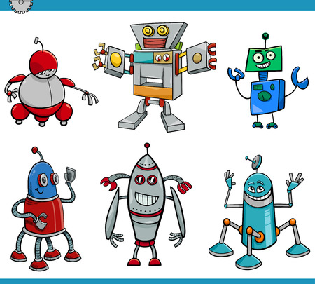 droid: Cartoon Illustration of Robot or Droid Fantasy Characters Set