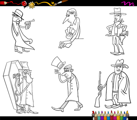 wrangler: Black and White Cartoon Illustration Set of Wild West People Characters Coloring Book