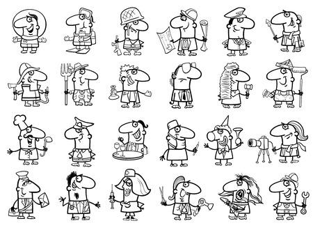 プロの人々 と職業の大きな黒と白の漫画イラスト設定ページを着色