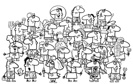 black professional: Black and White Cartoon Illustration of Professional People Big Group Coloring Page