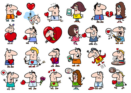 Cartoon Illustration of Funny People on Valentines Day Time Characters Set Illustration