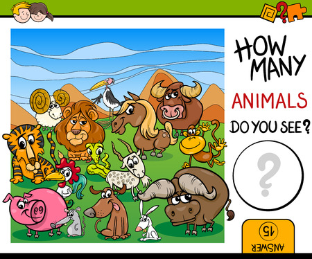 guess: Cartoon Illustration of Educational Counting Maths Activity for Children with Wild Animal Characters