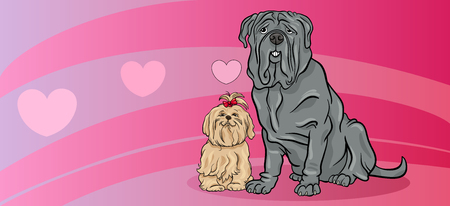 amor: Valentines Day Greeting Card Cartoon Illustration of Dogs Couple in Love Illustration