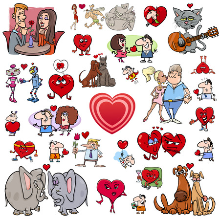 men and women: Cartoon Illustration of Valentines Day Characters and Design Elements Set