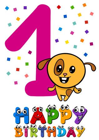 first birthday: Cartoon Illustration Design of the First Birthday Anniversary for Little Girl Illustration