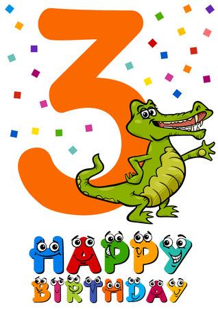third birthday: Cartoon Illustration of the Third Birthday Anniversary Design for Child Boy Illustration