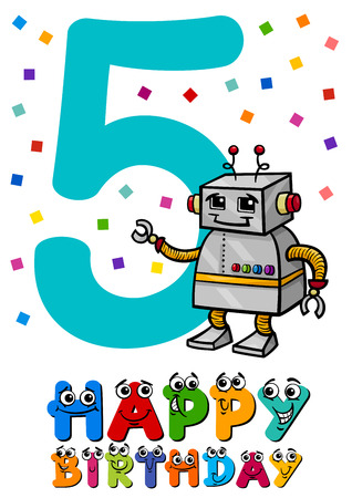 5th: Cartoon Illustration of the Fifth Birthday Anniversary Greeting Card Design
