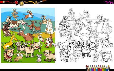 perros graciosos: Ilustración de dibujos animados divertido de perros para colorear Libro de actividades Vectores