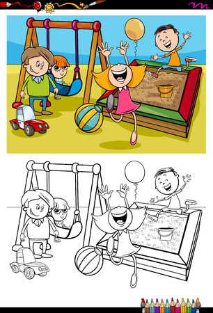 sandbox: Cartoon Illustration of Children on Playground Coloring Book Activity