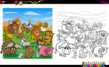 Cartoon Illustration of Animals Group Coloring Book Activity