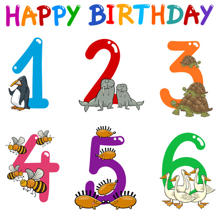 Cartoon Illustration Design of the Birthday Greeting Cards Set for Children Illustration