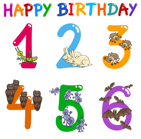 sixth birthday: Cartoon Illustration Design of the Birthday Greeting Cards Set for Children Illustration