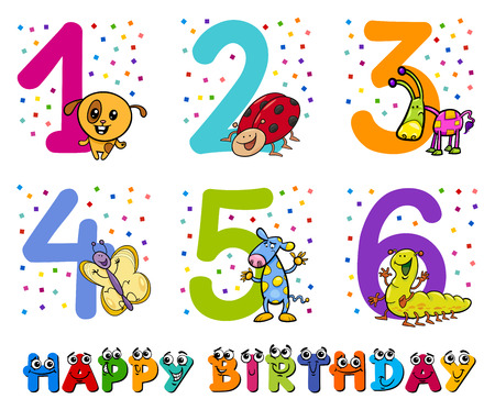 second birthday: Cartoon Illustration Design of the Birthday Greeting Cards Set for Children Illustration