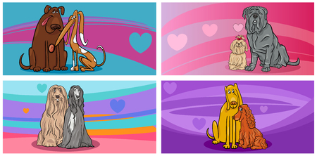 amor: Cartoon Illustration of Greeting Cards with Dog Characters in Love on Valentines Day Time