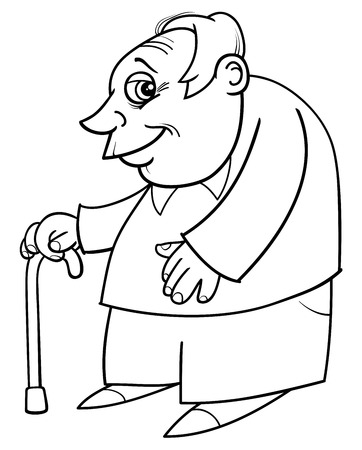 old timer: Black and White Cartoon Illustration of Mature Age Man Senior or Grandfather with Cane Coloring Book