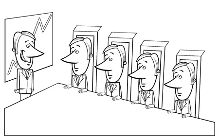 presentation board: Black and White Concept Cartoon Illustration of Presentation to the Board of Directors