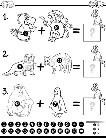 Black and White Cartoon Illustration of Educational Mathematical Addition Activity Task for Children with Animal Characters Coloring Book Illustration