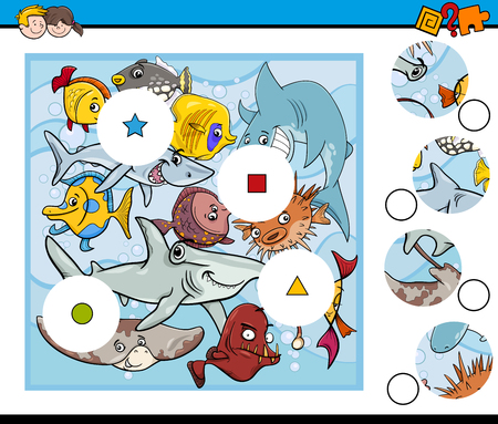 fish animal: Cartoon Illustration of Educational Match the Elements Game for Children with Fish Sea Animal Characters