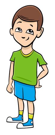 school age: Cartoon Illustration of Preschool or School Age Boy