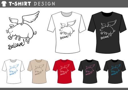 pig wings: Illustration of T-Shirt Design Template with Flying Pig and Believe Caption