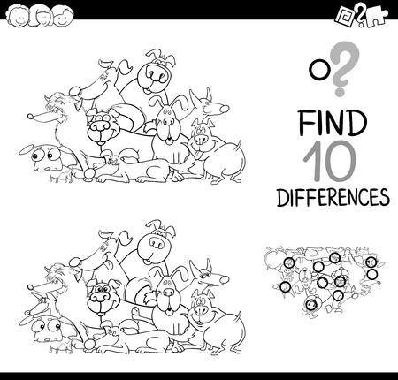 black dog: Black and White Cartoon Illustration of Finding Differences Educational Activity for Children with Dog Characters Coloring Page Illustration