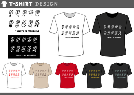 applicable: Illustration of T-Shirt Design Template with Emoticons and Text