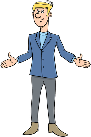 Cartoon Illustration of Young Man or Businessman Character