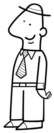 funny guys: Black and White Cartoon Illustration of Happy Man Funny Character Coloring Page Illustration