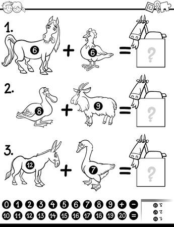 Ilustración De Dibujos Animados En Blanco Y Negro De Conteo ...