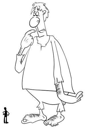 Ilustración de dibujos animados en blanco y negro de la fantasía gigante o cuento de hadas Carácter y un hombre para colorear