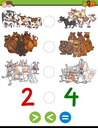 than: Cartoon Illustration of Educational Mathematical Activity Game of Greater Than, Less Than or Equal to for Children with Animal Characters