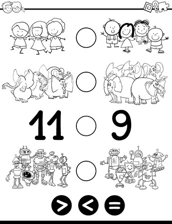 greater: Black and White Cartoon Illustration of Educational Mathematical Activity Game of Greater Than, Less Than or Equal to for Children with Animal Characters Coloring Page