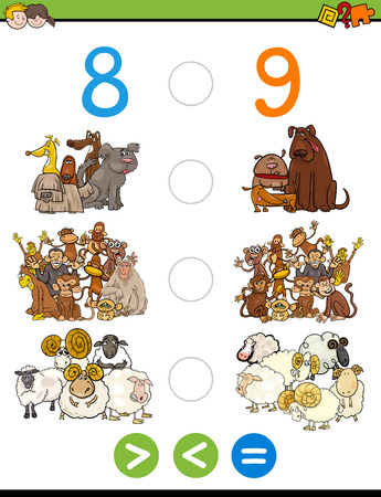 greater: Cartoon Illustration of Educational Mathematical Activity Game of Greater Than, Less Than or Equal to for Children with Animal Characters
