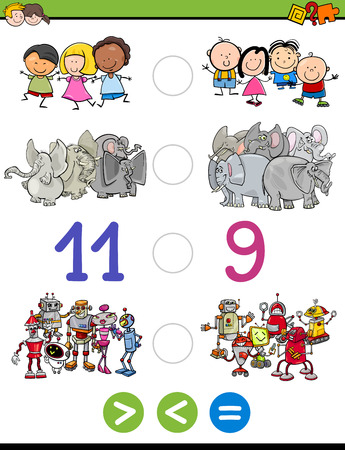 less: Cartoon Illustration of Educational Mathematical Activity Game of Greater Than, Less Than or Equal to for Children with Animal Characters