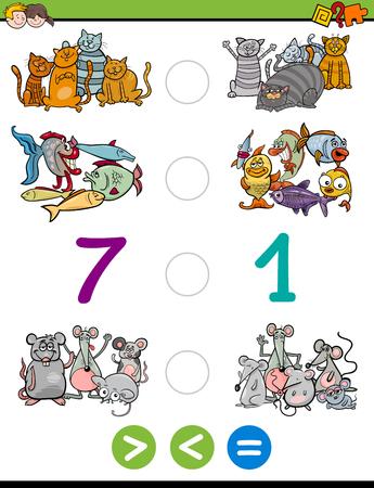 Cartoon illustrazione di Formazione matematica attività di gioco di Maggiore di, Minore o uguale a per i bambini con personaggi animali