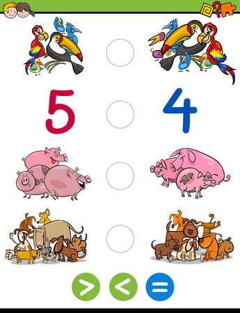 Illustrazione del fumetto del gioco educativo di attività matematiche per i bambini con i caratteri animali