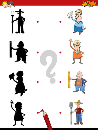 shadow people: Cartoon Illustration of Find the Shadow Educational Activity Game for Children with People Illustration