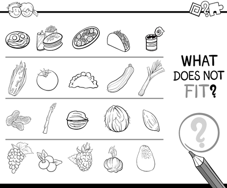 improper: Black and White Cartoon Illustration of Finding Improper Picture in the Row Educational Game for Children with Food Objects Coloring Page