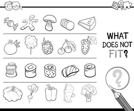 improper: Black and White Cartoon Illustration of Finding Improper Picture in the Row Educational Activity for Children with Food Objects Coloring Page