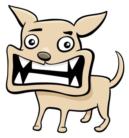 growl: Cartoon Illustration of Angry Dog or Puppy Animal Character