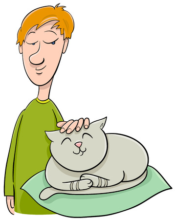 fondle: Cartoon Illustration of Boy Stroking his Pet Cat