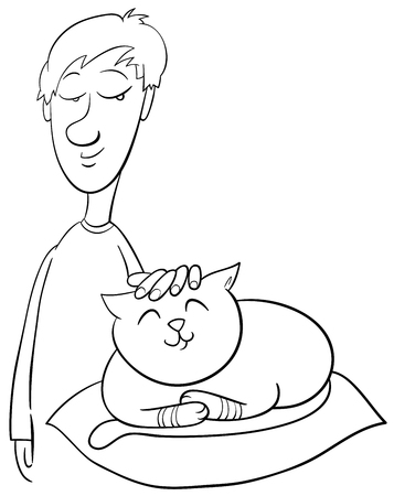 stroking: Black and White Cartoon Illustration of Boy Stroking his Pet Cat Coloring Page