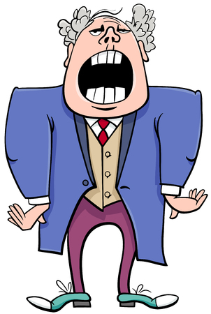 Cartoon Illustration of Singing Man or Opera Singer Character