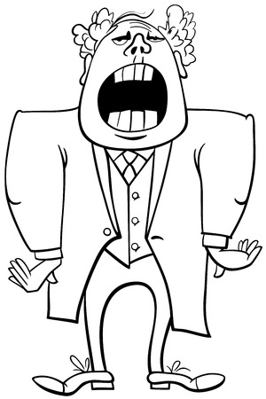 aria: Black and White Cartoon Illustration of Singing Man or Opera Singer Character Coloring Page