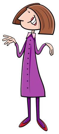 glad: Cartoon Illustration of Adult Woman Character